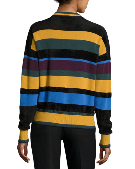 Striped Chenille Pullover Sweater