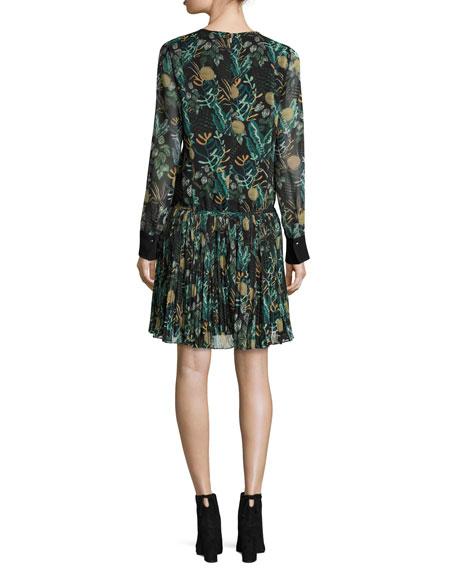 Long-Sleeve Dropped-Waist Floral Chiffon Dress