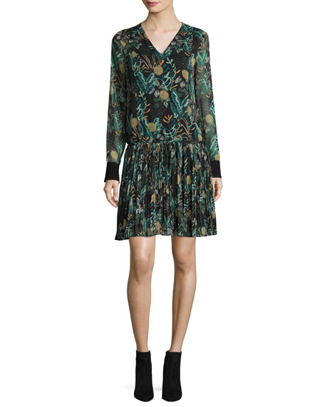 Long-Sleeve Dropped-Waist Floral Chiffon Dress