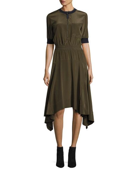 Jason Wu GREY Half-Sleeve Zip-Front Handkerchief-Hem Dress