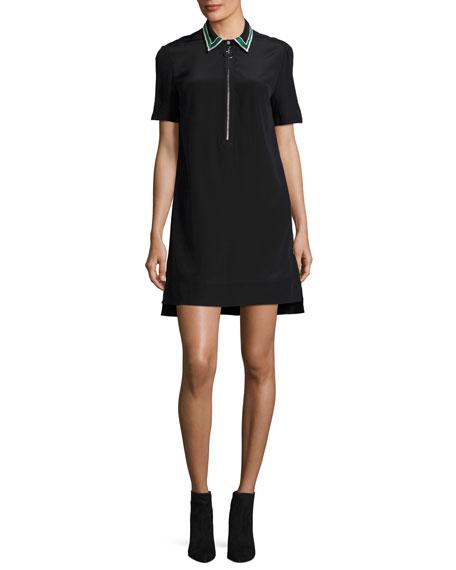 Short-Sleeve Half-Zip Silk Shirtdress