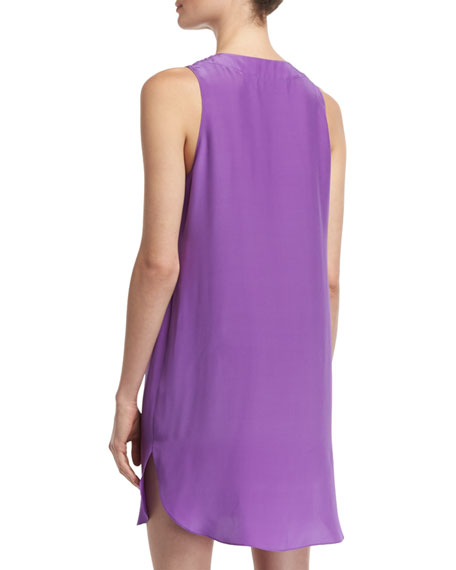 Pace Lace-Up Shift Dress, Purple