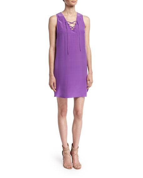 Pace Lace-Up Shift Dress, Purple