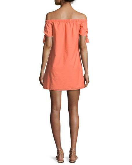 Bryant Off-the-Shoulder Button-Front Cotton Dress