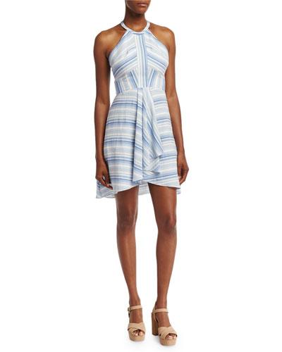 Vineyard Striped Cotton Mini Dress, Multi