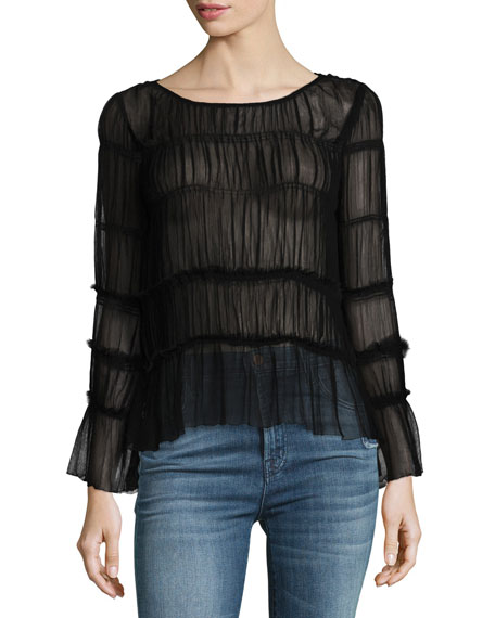 All Over Smocked Sheer Chiffon Top, Black
