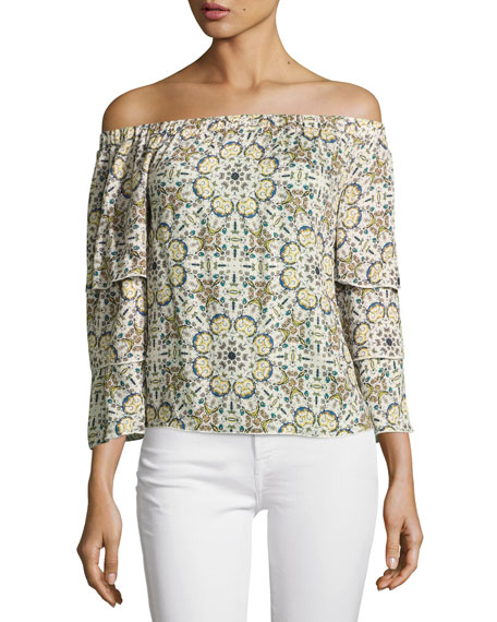 Ella Moss Minori Mosaic Off-the-Shoulder Top, Neutral Pattern