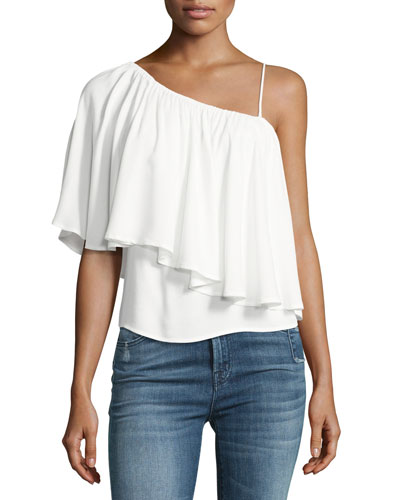 One-Shoulder Popover Blouse, White
