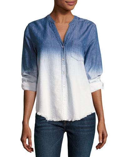 Normana Button Down Ombre Shirt, Blue