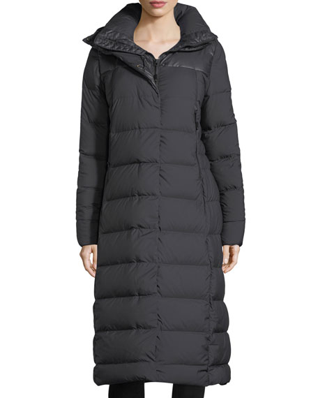 Cryos Long Zip-Front Quilted Puffer Parka Coat
