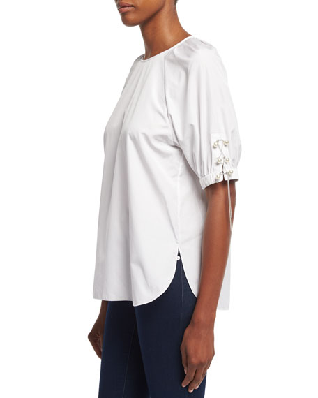 Short-Sleeve Poplin W/Pearly & Chain Lacing, White