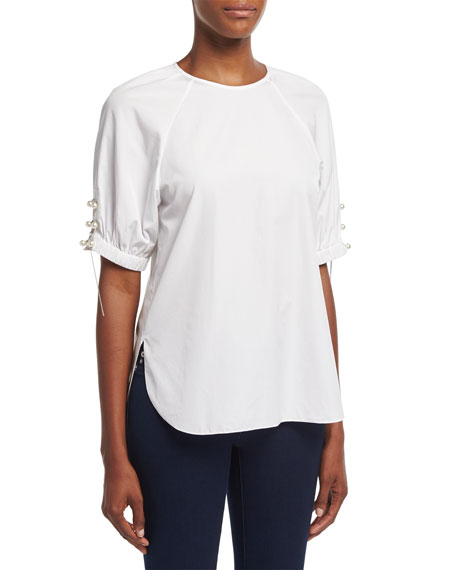 3.1 Phillip Lim Short-Sleeve Poplin W/Pearly & Chain