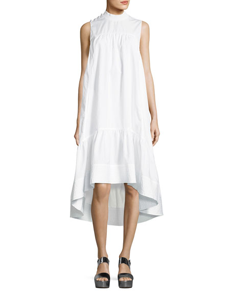 3.1 Phillip Lim Sleeveless Smock-Neck Trapeze Poplin Dress