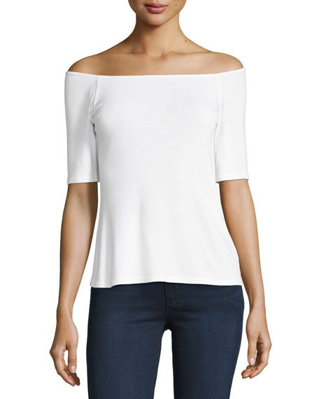 Splendid 1X1 Off-the-Shoulder Top, White