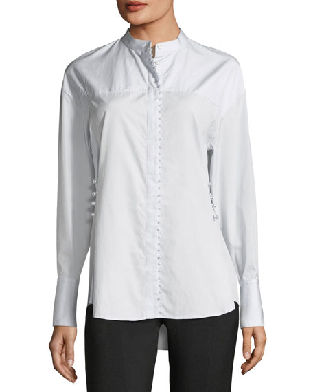 3.1 Phillip Lim Long-Sleeve Button-Front Poplin Shirt w/