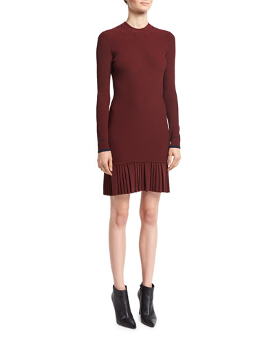 Long-Sleeve Pleated Rib-Knit Mini Dress, Red