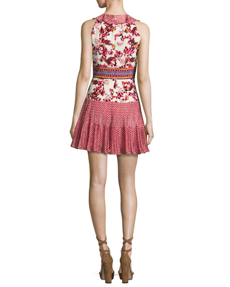 Amy Sleeveless Silk Short Dress, Multi