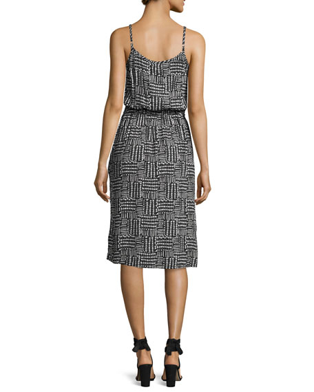 V-Neck Sleeveless Slip Midi Dress, Multi