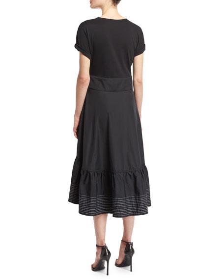 Short-Sleeve Corset-Waist Midi Dress, Black