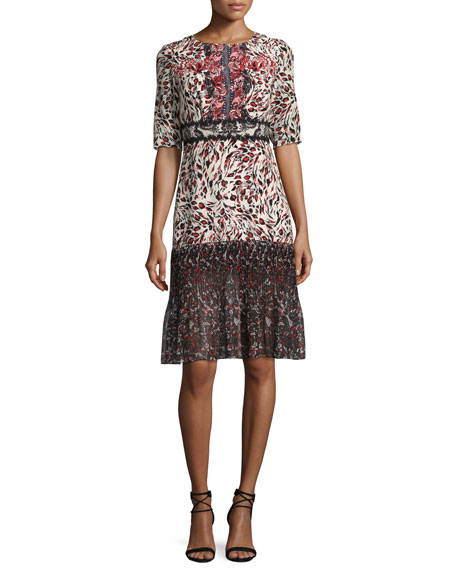 Saloni Vera-C Round-Neck Half-Sleeve Midi Dress, Leopard