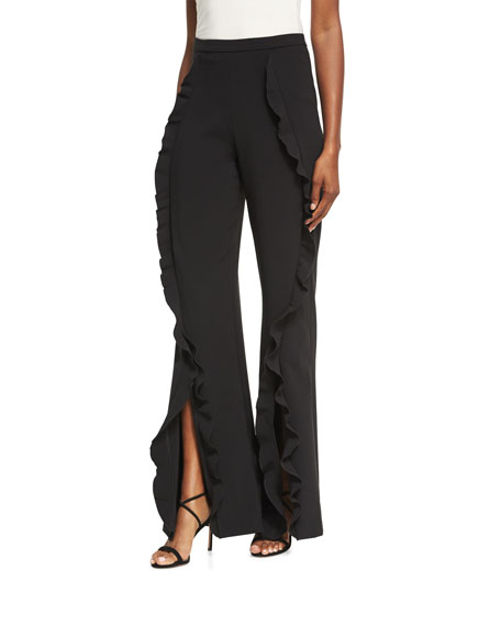 Saloni Ivy Ruffle Flared Trousers, Black