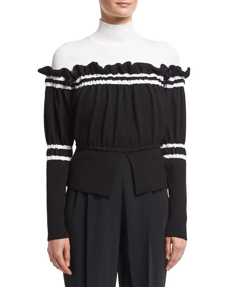 3.1 Phillip Lim Turtleneck Combo Pullover Sweater W/