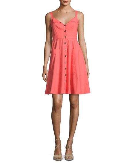 Saloni Fara Button-Front Poplin Short Dress, Bright Pink