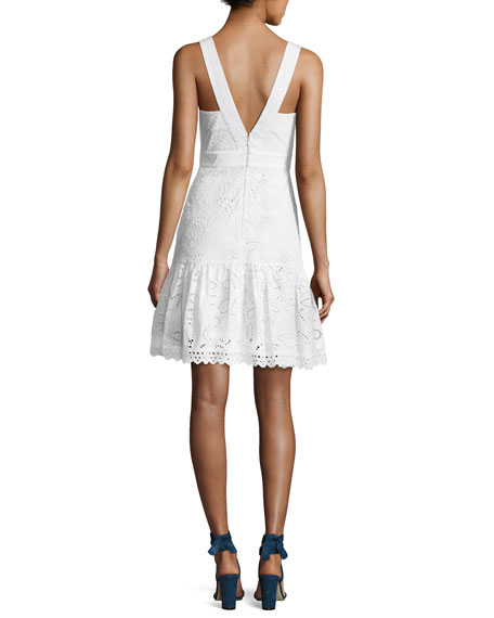Zita Eyelet Cotton Short Dress, White