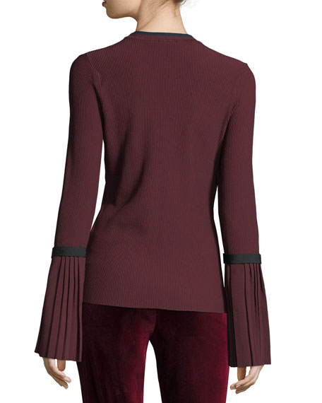 Long-Sleeve Pleated Pullover Sweater