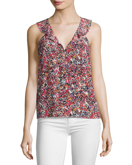 Saloni Bethany Sleeveless Silk Top, Pink Multi