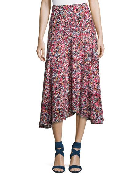 Saloni Ida A-Line Silk Midi Skirt, Multi