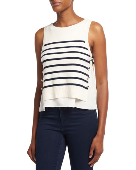3.1 Phillip Lim Sailor Striped Tank W/ Silk