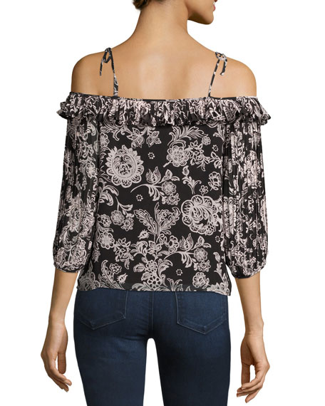 Off-the-Shoulder Floral-Print Blouse, Black