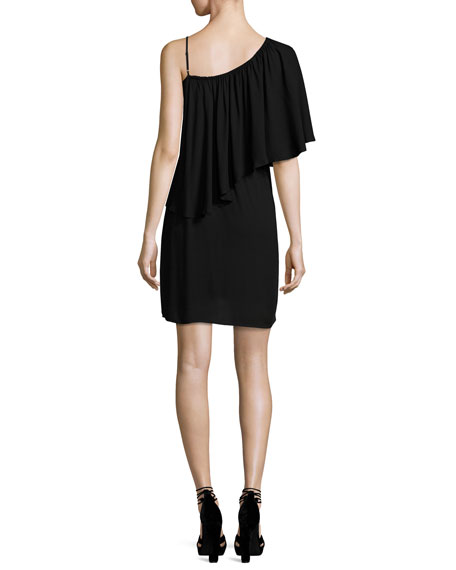 One-Shoulder Popover Mini Dress, Black