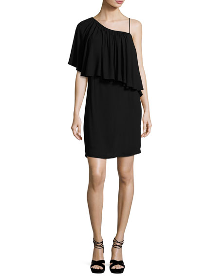 Ella Moss One-Shoulder Popover Mini Dress, Black