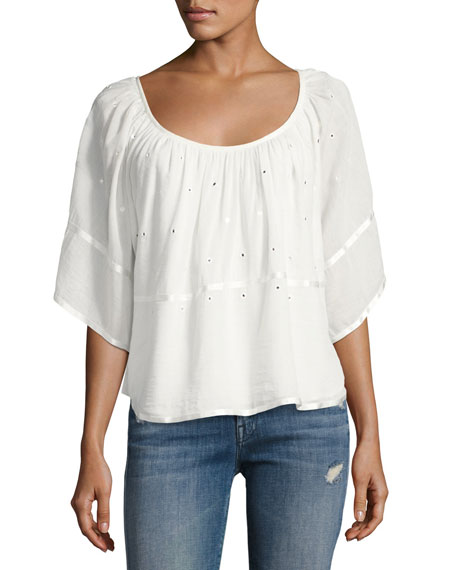 Circle Scoop-Neck Gauze Top, Beige