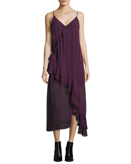 Iro Granby V-Neck Midi Tank Dress, Dark Red