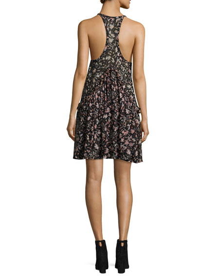 Baden Sleeveless V-Neck Ruffled Mini Dress, Black/Red