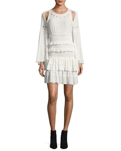 Jedway Bell-Sleeve Smocked Tiered Dress, Ecru
