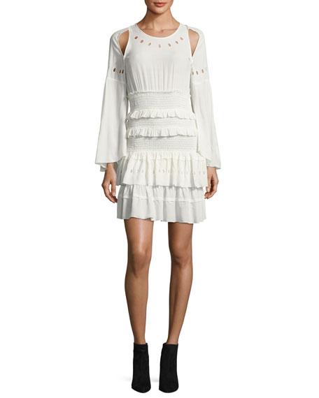 Iro Jedway Bell-Sleeve Smocked Tiered Dress, Ecru