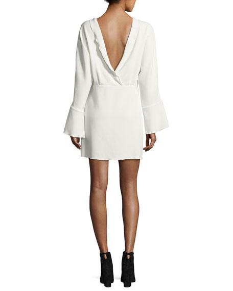Ivanoe Deep-V Back Bell-Sleeve Mini Dress, Ivory
