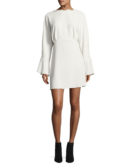Ivanoe Deep-V Back Bell-Sleeve Mini Dress, Ivory