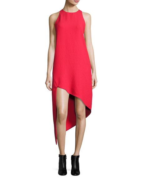 Iro Hamlin Asymmetric High-Low Sleeveless Dress, Red