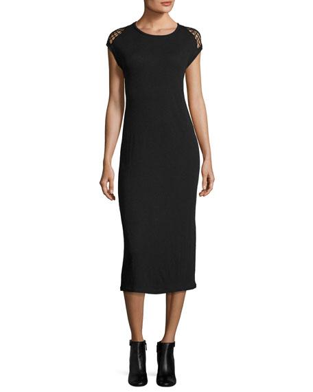 Iro Caplin Sleeveless Midi Dress W/ Crochet, Black
