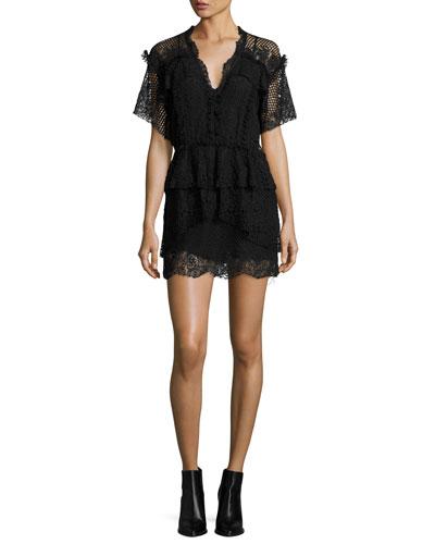 Penny Lace V-Neck Mini Dress, Black