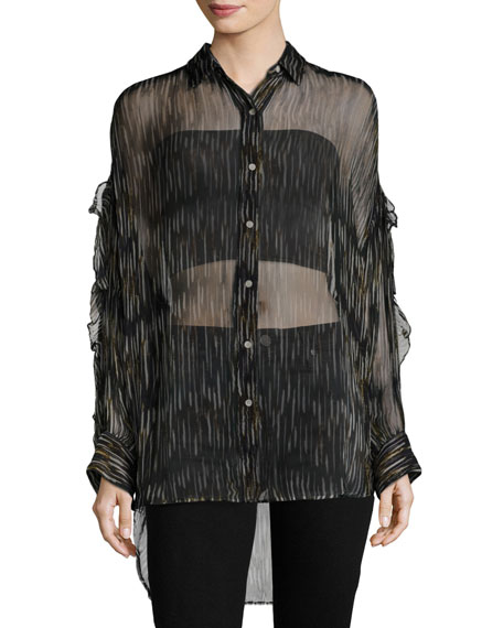 Calgary Button-Front Sheer Tunic Top, Navy