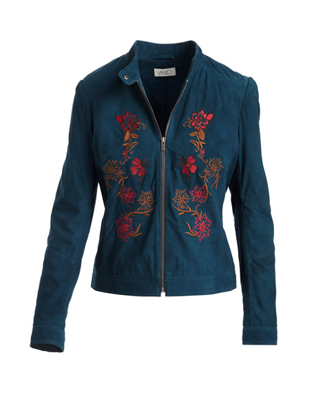 Floral-Embroidered Suede Moto Jacket