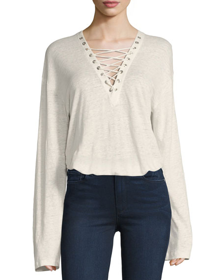 Iro Alety Lace-Up Long-Sleeve Top, Ivory