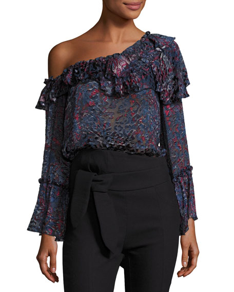 Iro Barrowl One-Shoulder Ruffled Blouse, Blue