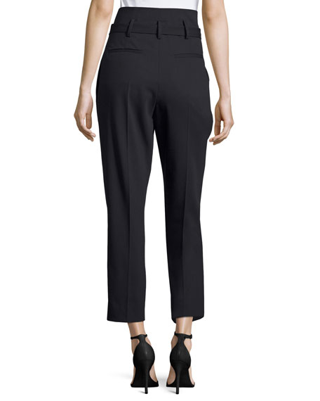 Fisheri High-Waist Cropped Wool Pants, Black